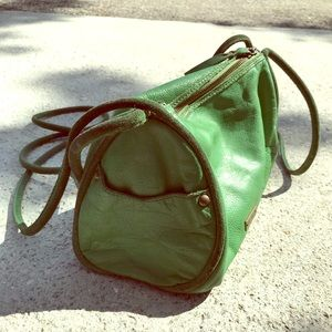 Alternative boho green shoulder duffle bag